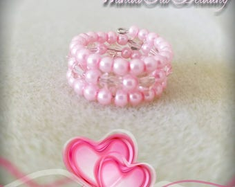 Pink Pearl & Crystal 3-Stranded Memory Wire Wrap Ring