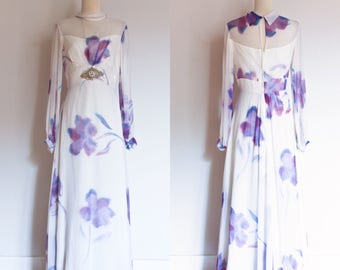 vintage 1970s floral chiffon maxi dress \ 70s purple lilac watercolor floral long sleeved sheer maxi hostess gown | S