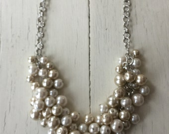 Ivory and white chunky pearl necklace  cluster pearl necklace.  wedding jewelry,
