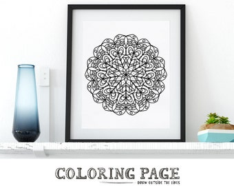 Doodle Mandala Coloring Page Printable Adult Coloring Book AntiStress Coloring Art Therapy Instant Download Zen Coloring Mandala Digital Art