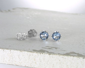 Aquamarine March Birthstone Earrings Silver Stud Earrings Blue Stud Earrings Aquamarine Earrings Birthstone Jewelry Holiday Gift For Her