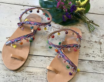 Boho Greek Sandals,Leather Sandals,Sandali Pom Pom,Women's Leather Sandals,Colorful Leather Sandals,Sandales Pompons,Women's Sandals