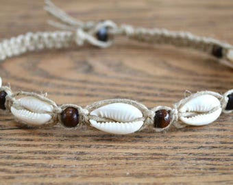 Hemp Necklace with Cowrie Shells Beach Jewelry Vacation Everyday Choker Wooden Beads