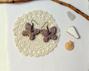 Earrings Handmodelling butterflies lilac gold polymer clay