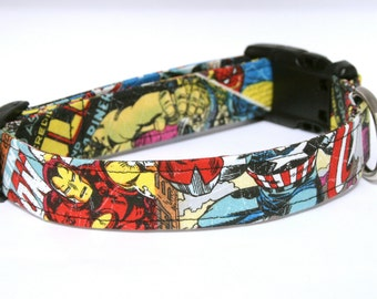 Retro Marvel Comic Strip: Hulk, Spiderman, Thor, Wolverine, Captain America, Ironman, and X-men Dog Collar. Great for Comic Con