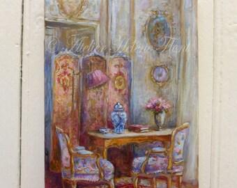 Baroque  & Louis XVI French Interior painting  , screen , french toile , furniture, blue  porcelain miniature ©Hélène Flont Designs