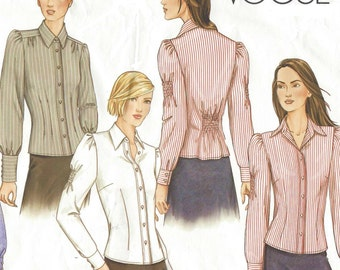 Womens Set of Blouses Vogue Basic Design Sewing Pattern 2701 Size 12 14 16 Bust 34 36 38 UnCut Semi Fitted Blouses Suit Blouse Pattern