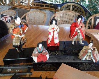 Vintage Japanese doll collection x 5 with stands