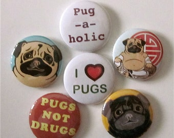 Pug Pins (set of 6)