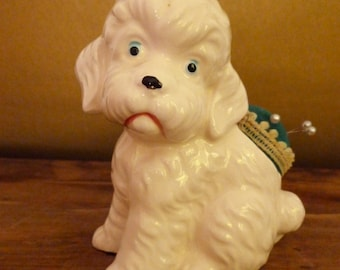Vintage Japan White Dog Figurine Pin Cushion