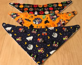 READY TO SHIP - Halloween Bibs - Fall Bibs - Bandana Bibs - set of 3