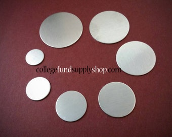 """7/8"""" ALUMINUM 14 gauge or 16g. SETS OF 3 stamping discs,  7/8"""" round blank,   disc for etching, metal supply, jewelry supply, hand stamping"""