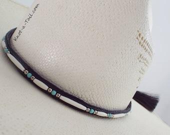 Bone beaded, Horsehair hat band, Cowboy horsehair hat band, hand-made, bone -bead  trimmed, Horse hair tassels , Cowboy  hat band, Rodeo