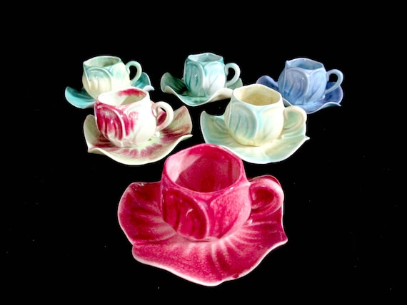 Espresso Cups, Set of 6, Kipps Ceramics, Cappuccino, Cups Saucers, Kipps Cups Saucers, Hard to Find, Set of 6, 1940s, SHIPS FREE