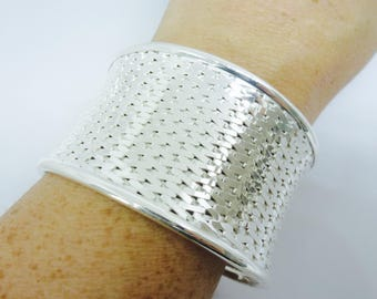 Silver Cuff Bracelet Sterling Silver Woven Wide Cuff Bangle Bracelet