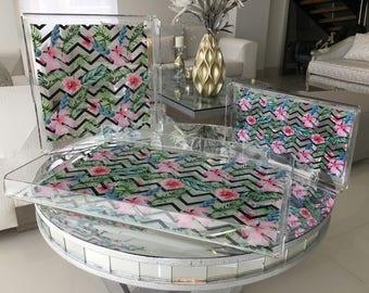 Pink Flower Acrylic Tray