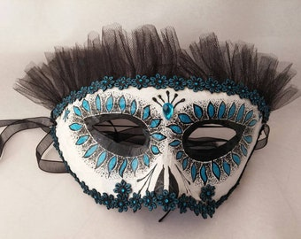 Paper mache mask, Masquerade mask, Halloween mask, Handcrafted mask, Day of the Dead mask