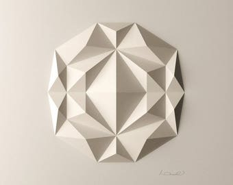 White Geometric Wall Decoration-Relief-Folded Paper Crystal Mosaic-Modern Geometric Abstract Sculpture-Created by Kubo Novak-DodecaF3