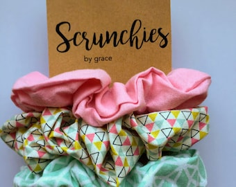 Pretty Pastels--3 Pack Scrunchies--Scrunchies by Grace--Set of 3--Cute Hair Accessories