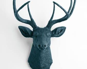 Faux Deer Head - The Mateo - Petrol Resin Deer Head- Deer Antlers Decor - Faux Head Wall Mount by White Faux Taxidermy