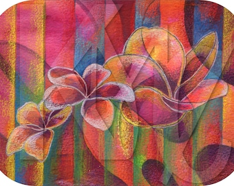 Instant Download - Mixed Media Illustration of Three Plumeria Blooms