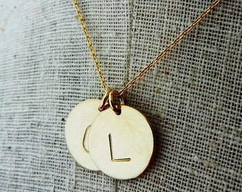 Two Charm Gold Letter Necklace | Gold Initial Necklace | Monogram Charm | Personalized Charm Necklace | Mothers Necklace | Gold Letter Charm