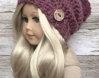 DIY Crochet Pattern – 18 inch Doll Slouchy Pom Beanie/Hat PDF 07 (Fits American Girl Dolls) – Digital Download
