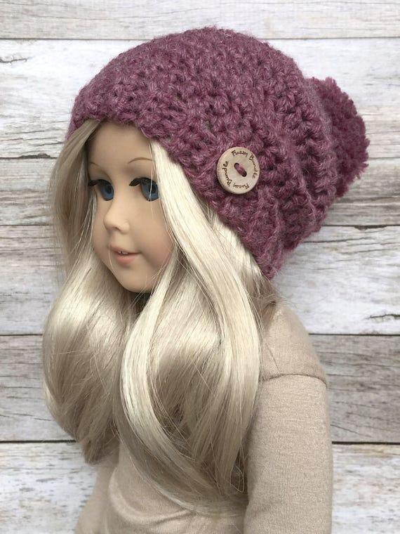 Diy Crochet Pattern 18 Inch Doll Slouchy Pom Beanie Hat Pdf