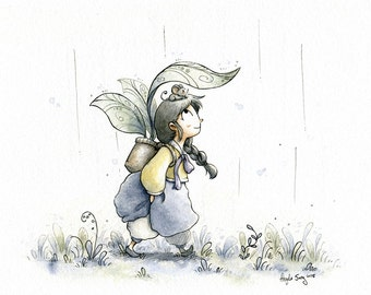 Rainy Day Stroll - Daily Drawing Series Fine Art Print