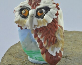 OWL Barn Owl Focal Bead Sculpture - Flameworked Glass Bead - Handmade Lampwork Glass Sculpture Bead