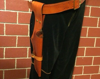 Leather Sci-Fi Steampunk Gun Holster Lined With Suede and Captain 's Belt