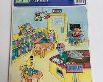 Vintage Sesame Street Puzzle, A Visit to the Library