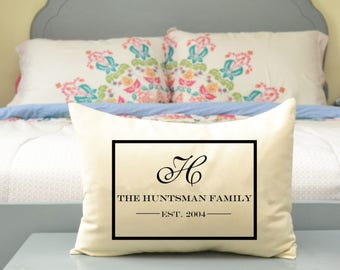 Personalized monogram pillow, Cotton anniversary, 2nd Anniversary, valentines gift, Mother's Day gift, wedding gift,  valentine gift idea