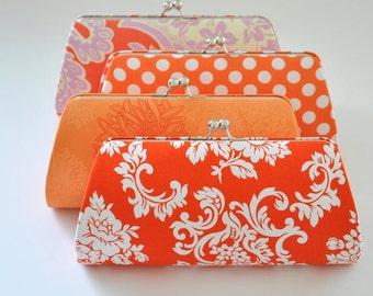 Custom clutch - Orange Clutch - Tangerine Clutch -Bridesmaid Clutch- You choose the fabric