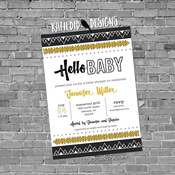 hello baby sip and see |  boho baby shower tribal invitation | coed baby shower | diaper wipe brunch | tribal arrows | 1482 Katiedid Designs
