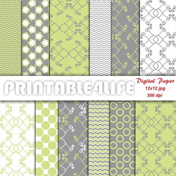 Digital Paper Green Gray Pack Lime Green Chevron Dot Damask