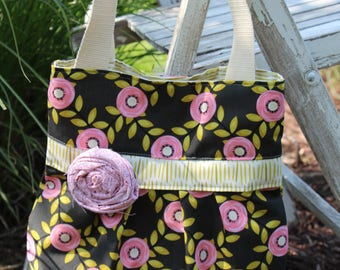 Gray/Pink/Green Floral Pleated Bag with Shoulder Straps, Pleated Bag, Pleated Purse with Shoulder Straps, Gift Idea, Gfit for Her