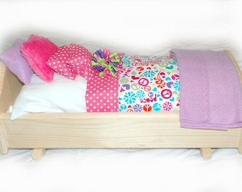 Rock Her to Sleep!  Single Doll Bed - Peace Dots American Made Girl Doll Bed - Fits AG Doll and 18 inch doll BittyBaby 18' Doll Furniture