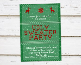 Printable Ugly Sweater Christmas Party Invitation, Funny Party, Tacky Sweater, Holiday Party, Office Party, Annual, Adults, MB247