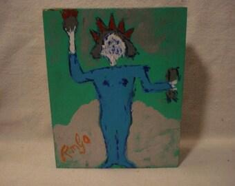 LADY LIBERTY Folk Art Outsider Art Rongo Painting on Large Cigar Box