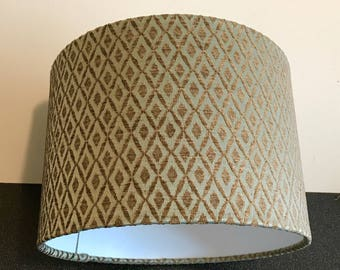 Teal drum lampshade, gold lamp shade, modern home decor, unique interior idea, hanging lampshade, geometric table lamp, office accessories
