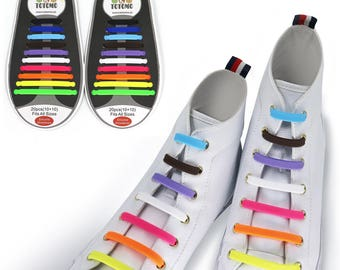 TOTOMO Rainbow No Tie Elastic Silicone Shoelaces for both Kids & Adults Tieless Shoe Laces