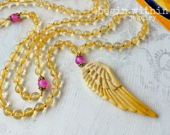 Archangel Gabriel Mala Beads | Citrine Angel Necklace | Angel Wing Prayer Beads | Guardian Angel Jewelry
