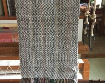 Handwoven scarf - wool, linen, merino, silk
