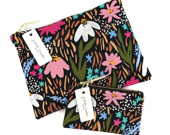 Midnight Garden Organic Cotton Pouches
