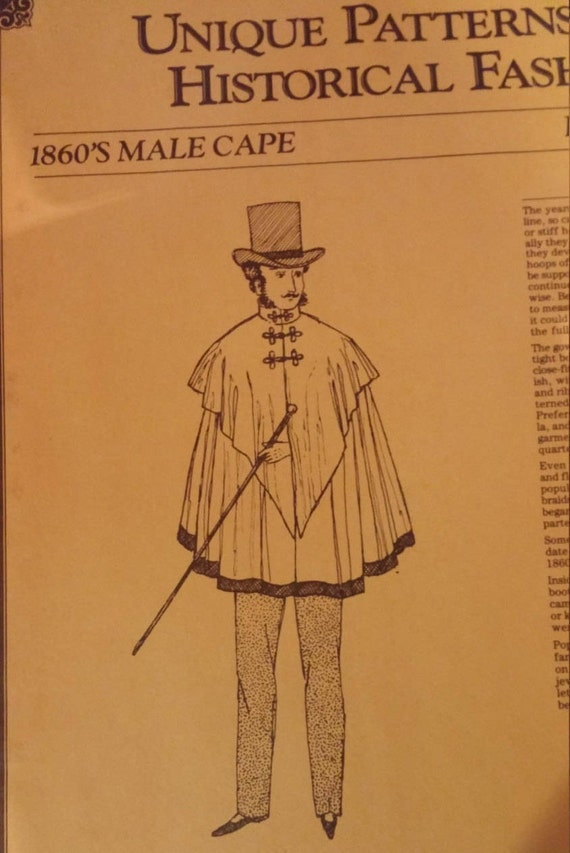 Historical Fashions Pattern 1860s Victorian Mans Costume Cape by Old ...