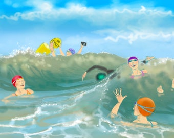 Art print - 'A Bouncy Day at Poole' - open water swimming, wild swimming, A4 or A3 size.