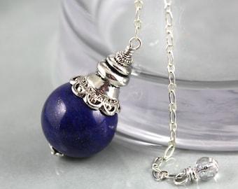 Lapis Lazuli Pendulum, Gemstone Pendulum, Crystal Pendulum, Lapis Pendulum, Divination, Magic, Scrying, Fortune Telling, Wiccan Tool, Wicca