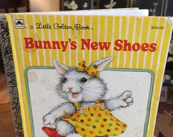 Book, Bunnys New Shoes, A Little Golden Book, Vintage, Children's Books, Spring, Easter, Antique Discoveries