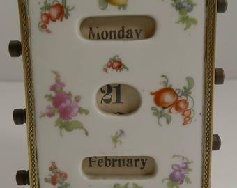 Pretty Antique French Hand Painted Porcelain Perpetual Desk Calendar